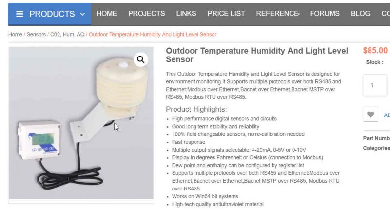 Outdoor Weather Station with Bacnet and Modbus